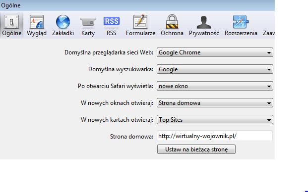 safari4 Jak ustawić stronę startową? Chrome/Firefox/Safari/Internet Explorer