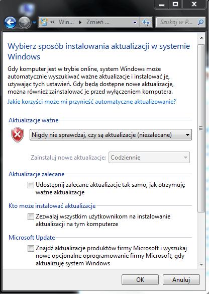 7 Jak wyłączyć aktualizacje Windows 7