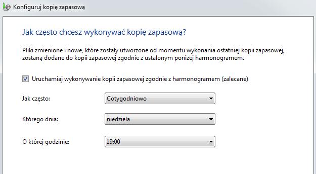 harmonogramu wykonywania kopii zapasowej – odzyskiwanie systemu Windows