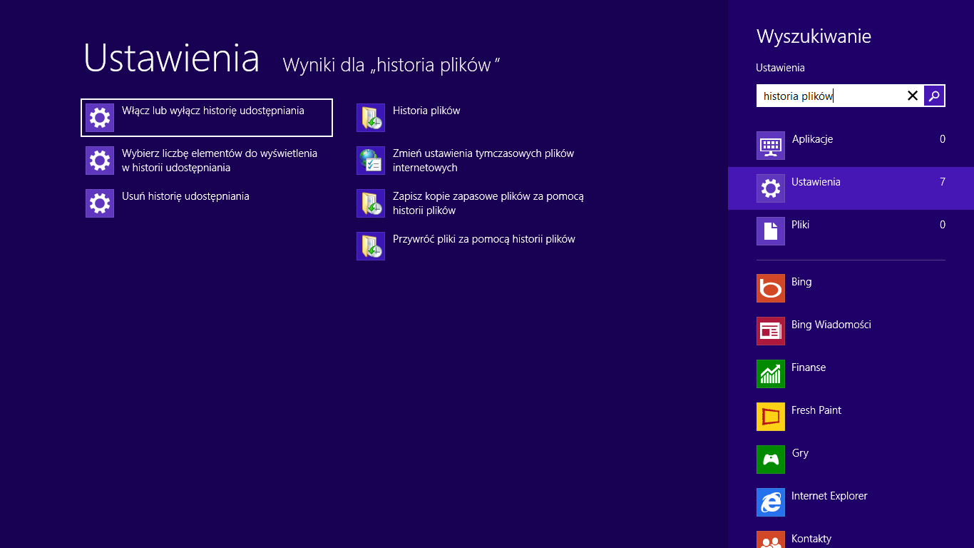 windows 8 historia plików