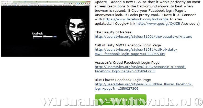 Annonymous Black Facebook Login Page