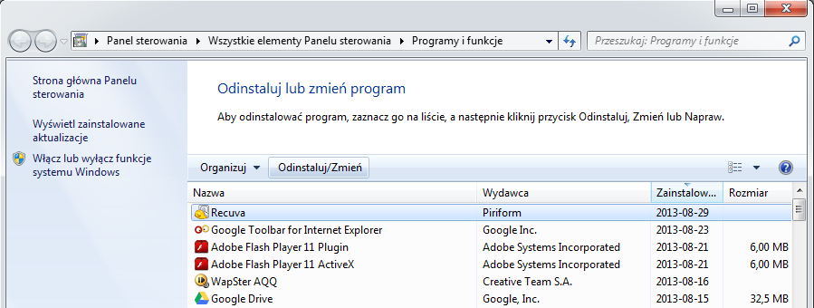 Dodaj / usuń program windows 7