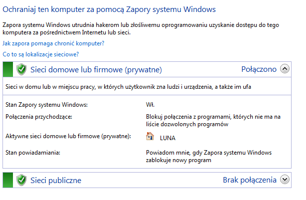 stan zapory w systemie windows 7