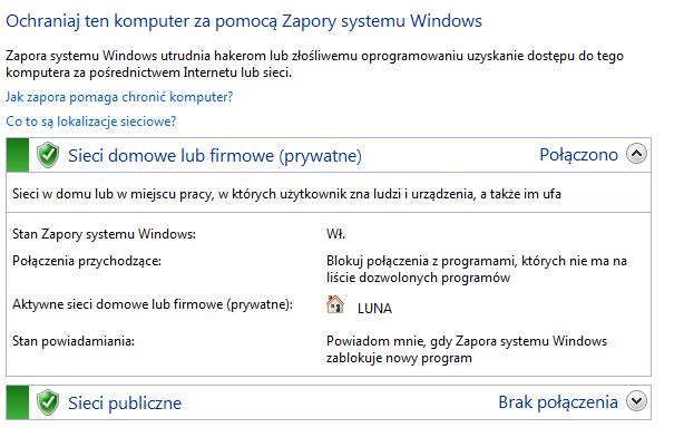 stan zapory w systemie windows 7
