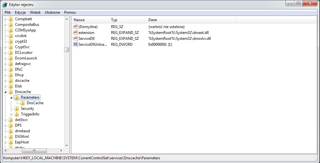 HKEY_LOCAL_MACHINE\SYSTEM\CurrentControlSet\Services\DNScache\Parameters