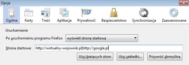 Jak uruchomić jednocześnie kilka stron startowych w Firefox'ie?