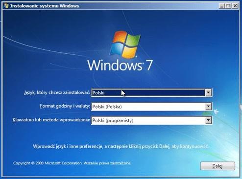 jak zainstalować windows 7