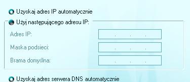 Uzyskaj adres IP Automatycznie oraz Użyj następującego adresu IP.