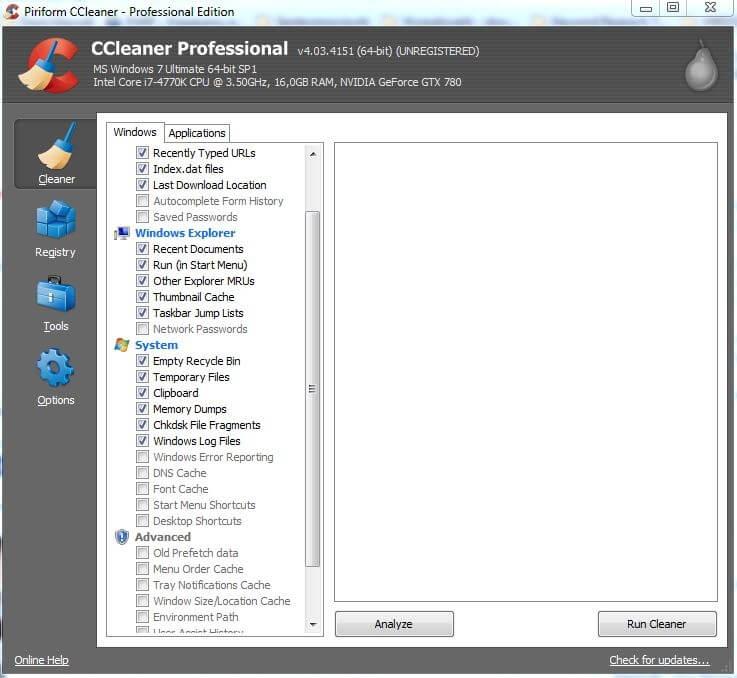 Widok CCleaner Professional