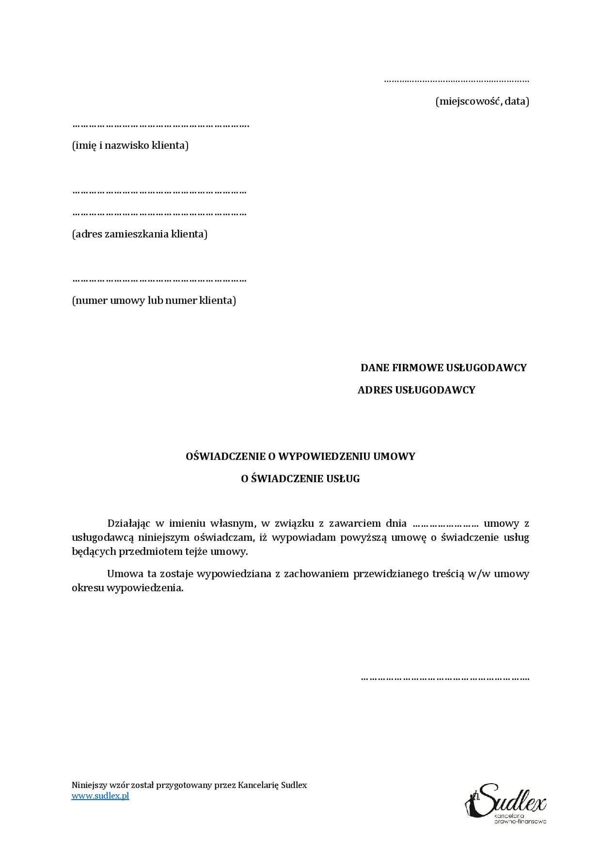 Wzór Wypowiedzenia Umowy O Pracę